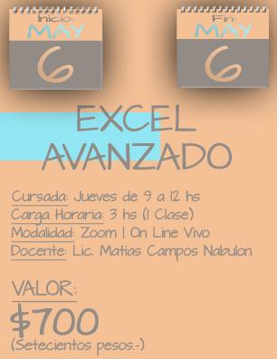 Tarjeta Excel Avanzado MAÑANA - 0605 al