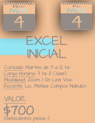Tarjeta Excel Inicial MAÑANA - 0405 al 0