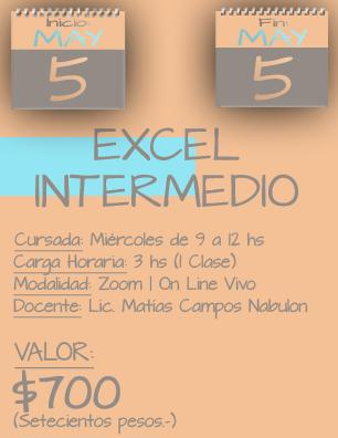 Tarjeta Excel Intermedio MAÑANA - 0505 a