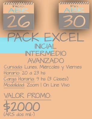 Tarjeta Excel Pack NOCHE - 2604 al 3004.