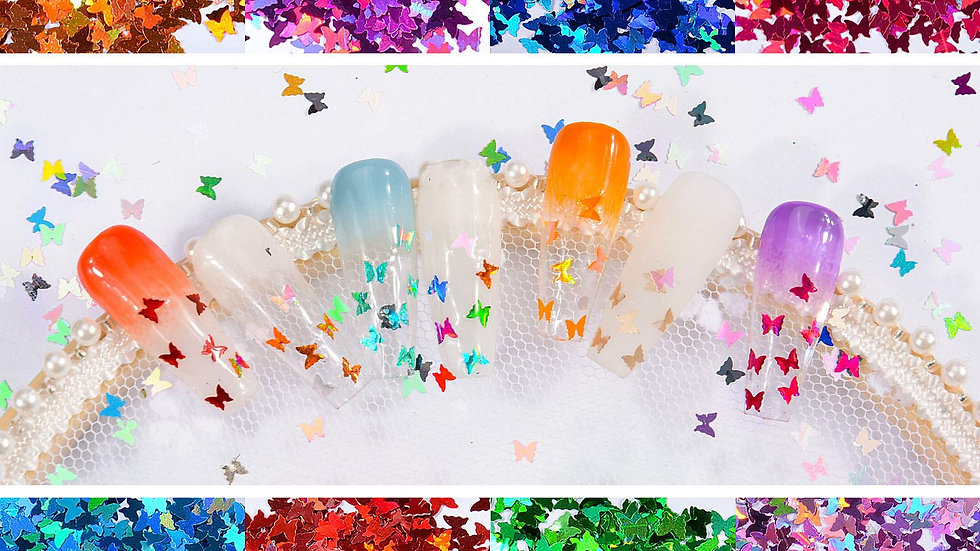 3D Holigraphic Butterfly Nail Glitter 24 Colors/set