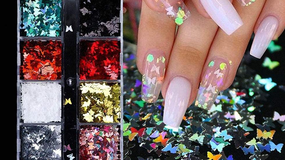 12 Colors Butterflies Glitters