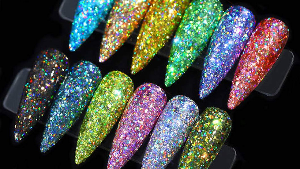 12 Holoqraphic Glitter Superfine Nails Sequins Mixed Iridescent