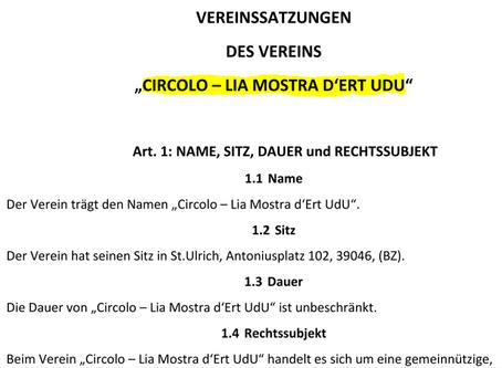 Statut dl Circolo nuef