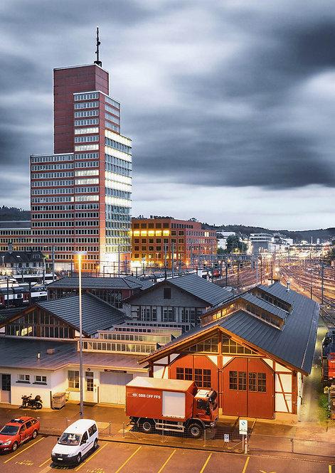 Roter Turm bei Nacht Winterthur Postkarte A6