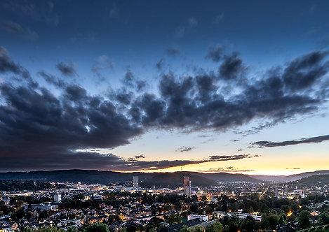 """Wandbild Motiv: """"Es wird Nacht in Winterthur"""""""