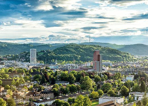 Winterthur Skyline vom Aussichtspunkt Bäumli Postkarte A6