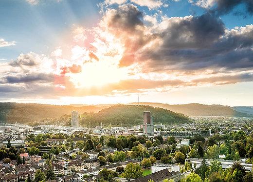 Blick von der Aussichtsterrasse Bäumli auf Winterthur Postkarte A6