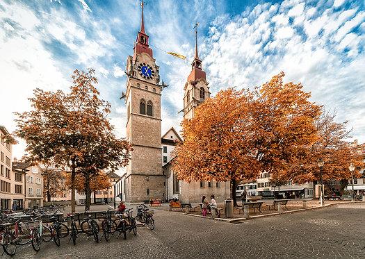 """Wandbild Motiv: """"Stadtkirche im Herbst"""""""