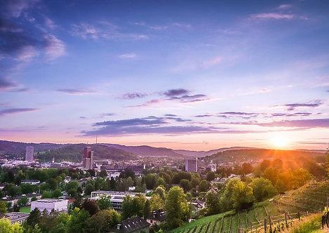 Sonnenuntergang Winterthur Postkarte A6