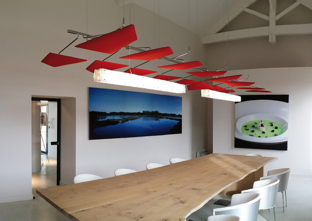 ceiling suspended acoustics sound control panels office meeting room modern refurbishment