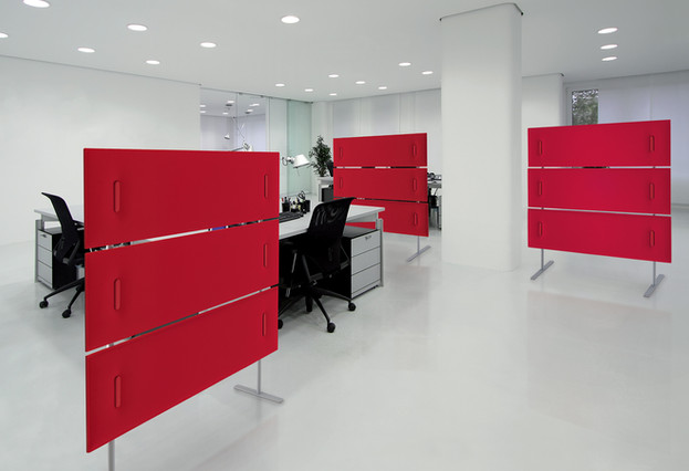 free-standing acoustic panels red office modern fit-out