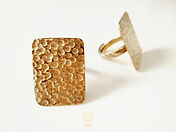 Dot Hammered Rectangle Ring