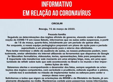 INFORMATIVO EM RELAÇÃO AO COVID-19