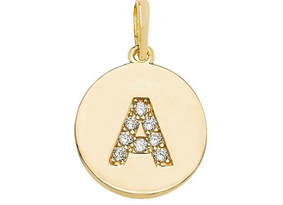 9ct Yellow Gold Cubic Zirconia Initial Pendant
