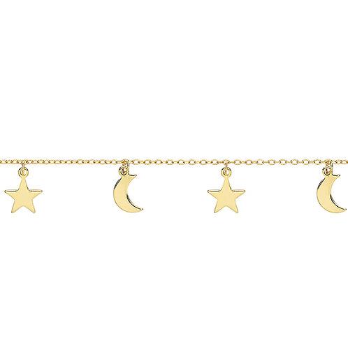 Silver Gold Plated Moon & Stars Bracelet