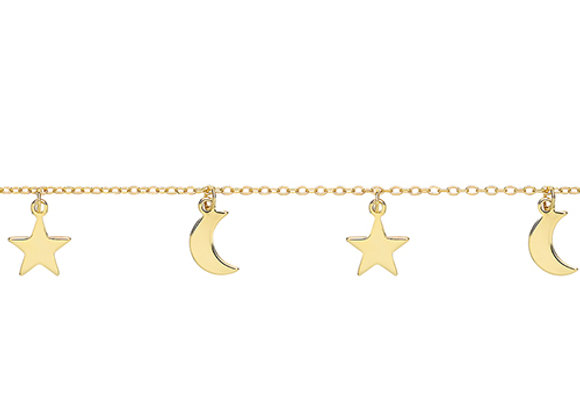 Silver Gold Plated Moon & Stars Bracelet