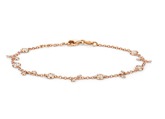 18ct Rose Gold rubover set chain bracelet with diamonds