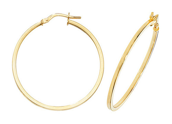 9ct Yellow Gold 30mm Hoops