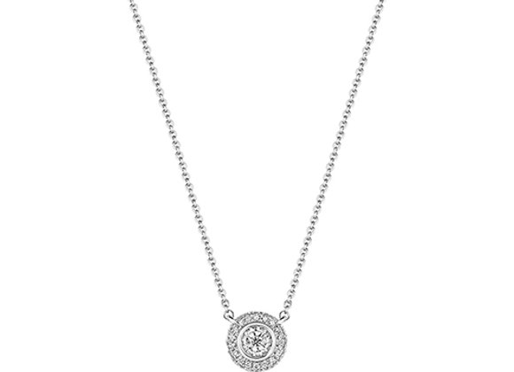 18ct White Gold Illusion Set Diamond Halo Necklace
