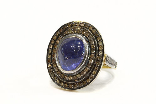 Indian Collection Tanzanite and Diamond Target Ring