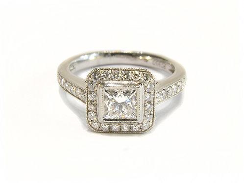 GIA Princess Cut Halo Engagement Ring