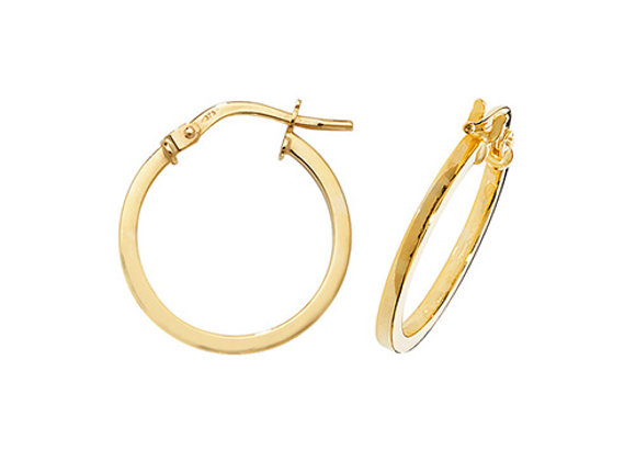 9ct Yellow Gold 15mm Hoops