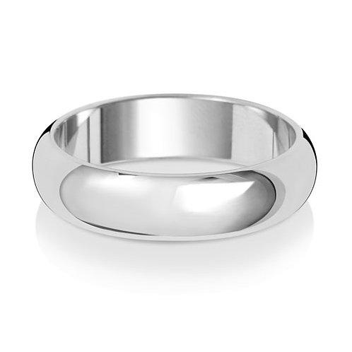18ct White Gold Wedding Band D-Shape 5mm Lightweight