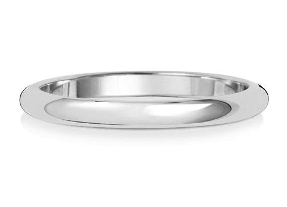 Platinum Wedding Band D-Shape 2mm Lightweight