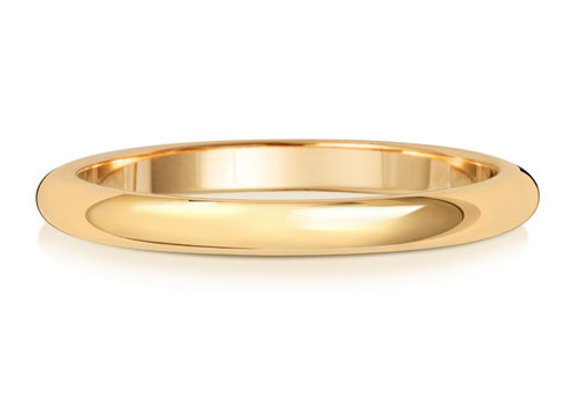 D Shaped, 2mm Wide, 9ct Gold Wedding Band