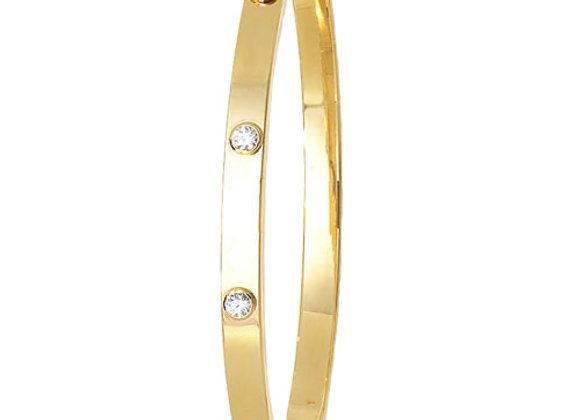 9ct Yellow Gold Bangle with Cubic Zirconia