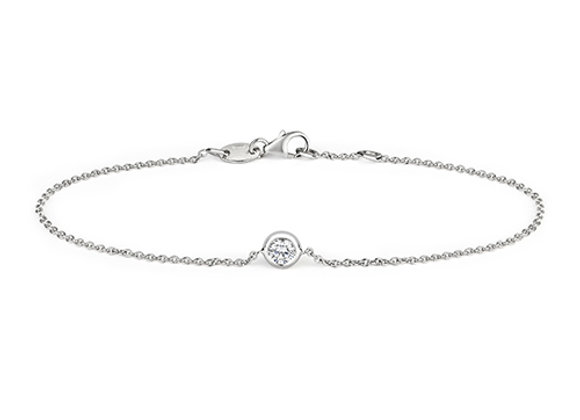18ct White Gold Rubover Diamond Bracelet