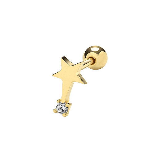 Cartilage 9mm Post Stud Shooting Star 9ct Yellow Gold and Cubic Zirconia