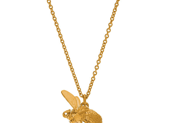 Alex Monroe Flying Bee with Pearl Necklace Gold Plated