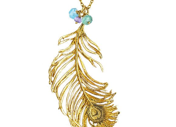 Alex Monroe Large Peacock Feather Necklace
