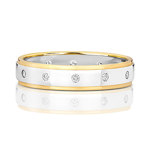 9ct Yellow and White Gold, 4.1mm Wedding Band