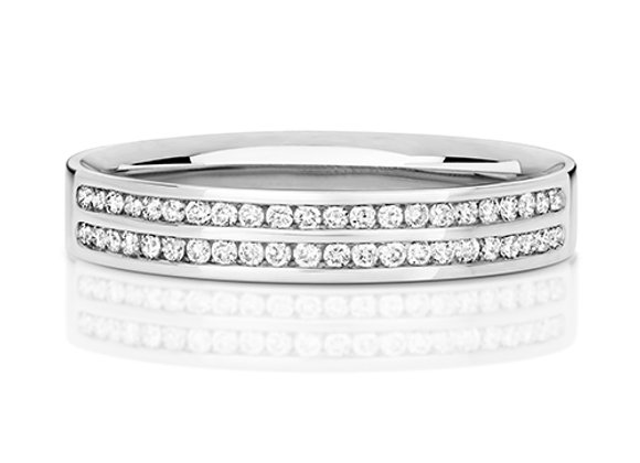 Two row channel set half eternity ring