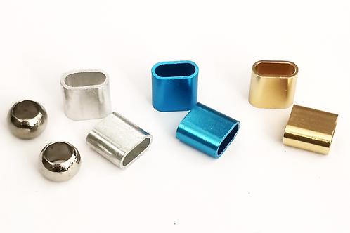 1x Verschlüsse für Festivalbänder | Aluminiumverschluss Silber / Blau / Gold