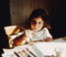 The artist aged 4 with a fearsome look o