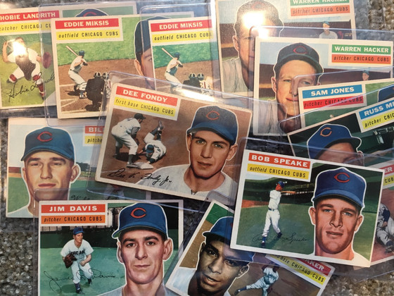 Stack of 1956 Cubs Cards and a Case Hit