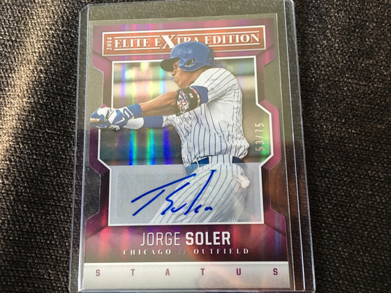 Jorge Soler Autograph and 2018 Cubs for a Medium Flat Rate Box of Hockey Cards