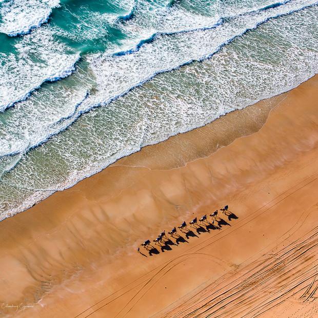 Aerial view of stunning beach