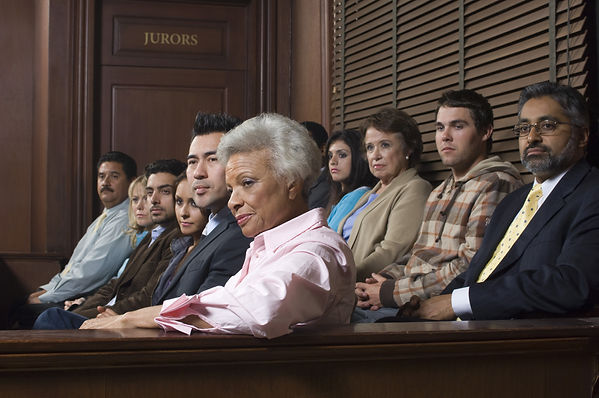 Multi ethnic jurors in witness stand of