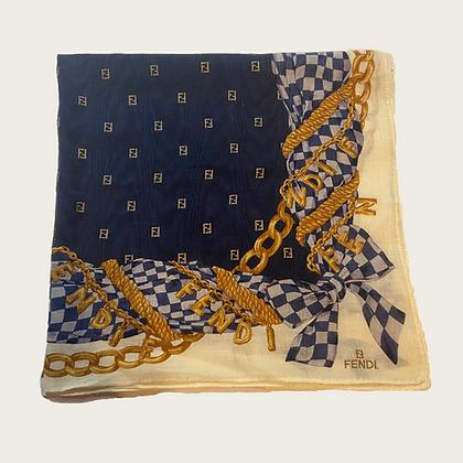 Fendi Navy Gold Chain Zucca Handkerchief