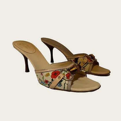 Gucci Floral Canvas Bamboo Horsebit Sandals