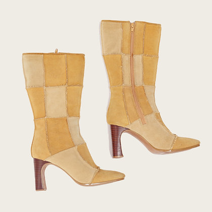 Vintage Patchwork Mid-Calf Boots