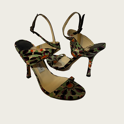 Jimmy Choo Geometric Print Ankle-Strap Sandal
