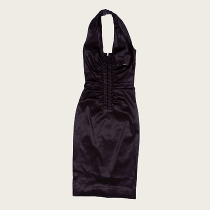 Dolce and Gabbana Lace-Up Plunge Halter Knee-Length Dress