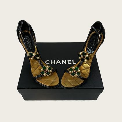 "Chanel ""07P"" Spring Gripoix Jewel Black T-Strap Heels"