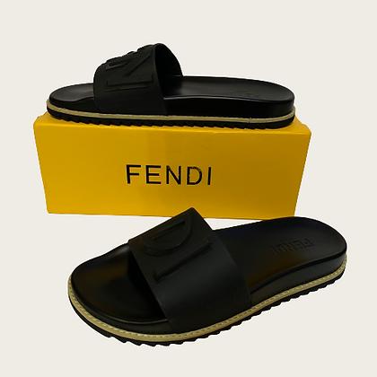 Fendi Rubber Vocabulary Slides in Black